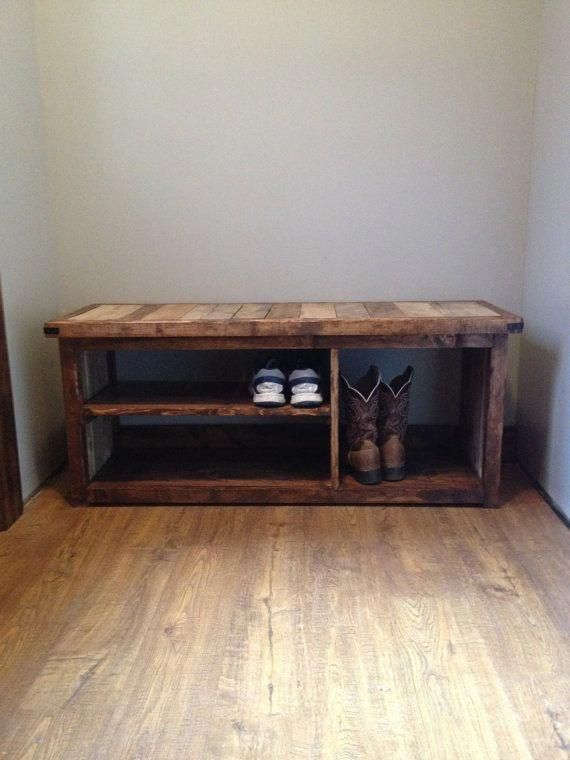 Rustic Shoe Bench By Woodlandrustic On Etsy Bench With