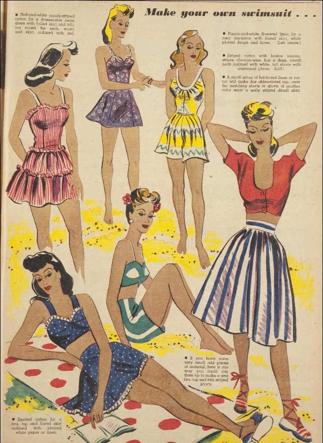 From the Australian Women's Weekly magazine, 1 January 1944 - 1940s swimsuits