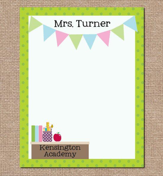 Teacher Notepad - Desk - Banner - Teacher Appreciation - Journal - Personalized. $15.75, via Etsy.
