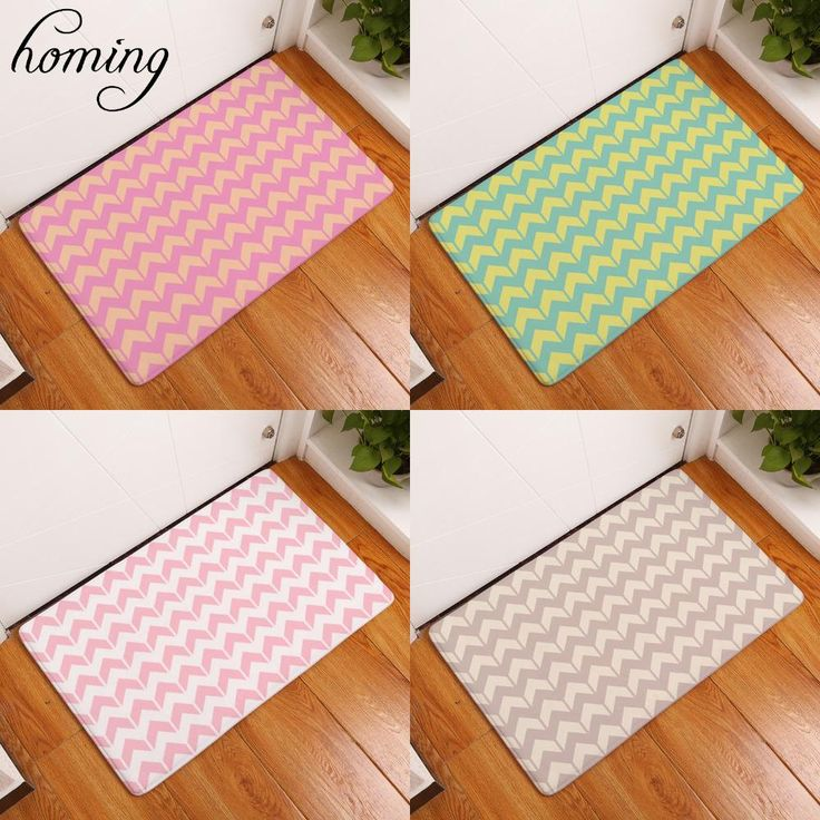 [Visit to Buy] Homing New Arrive Water Absorption Entrance Door Mats Colorful Geometric Lines Carpets Bedroom Rugs Flannel Home Decor 40*60cm #Advertisement