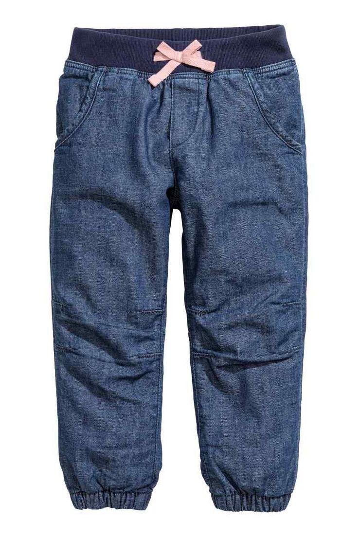 Joggers em algodão forradas: Calças jogger em algodão lavado e macio com cós em…