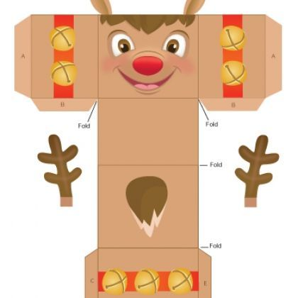 FREE printable Reindeer Gift Box