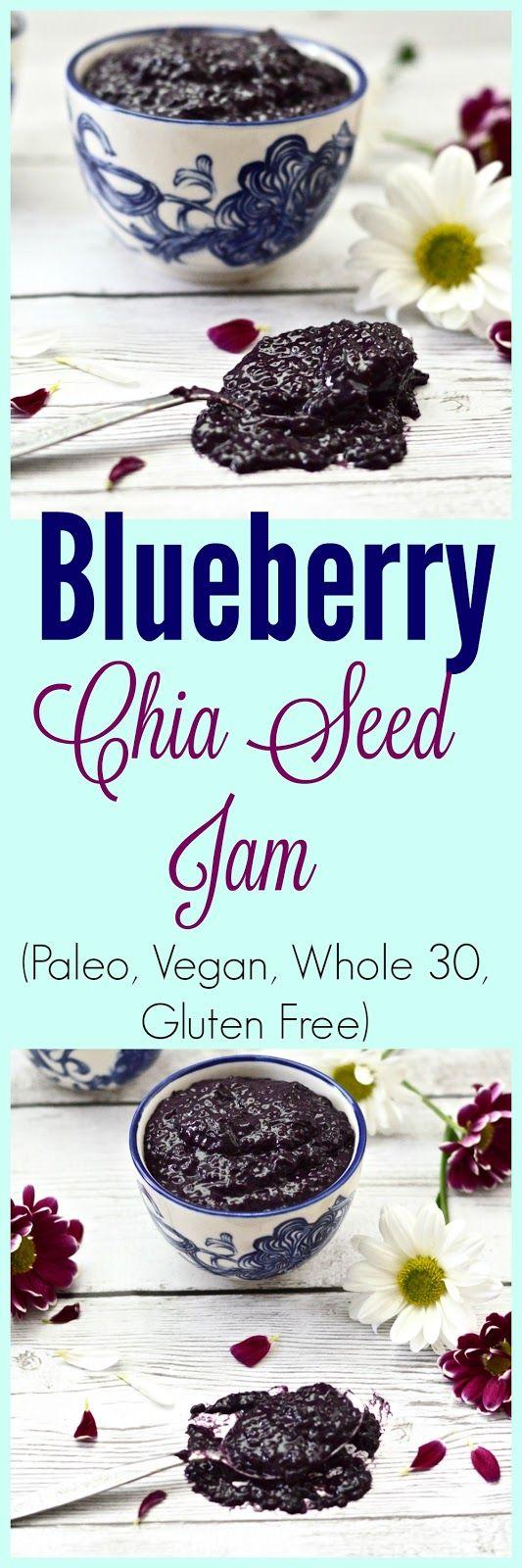 Blueberry Coconut Chia Seed Jam (Paleo, Gluten Free, Sugar Free, Whole 30, Vegan)