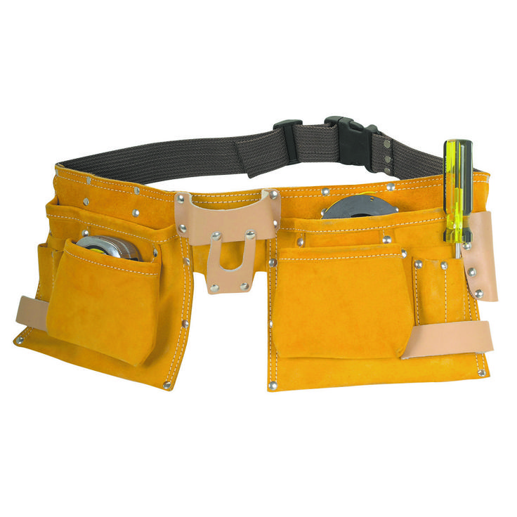 Keep your tools handy and accessible with this carpenters tool belt. Made of split leather with double stitched ends and steel rivets for strength and durability, this tool belt is built to last. The belt features two large pockets, two medium flared pockets and six small pockets to fit tools, accessories, bits and anything else the job requires.