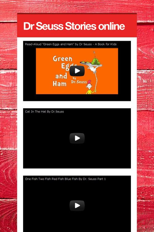 Dr Seuss Stories online to watch with your family.