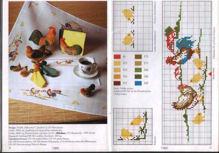 Вышивка крестом / Cross stitch : Цыплята/Курица/Петух