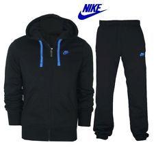 Blue Adidas Sweat Suit | ... FLEECE TRACKSUIT JOG SUIT FULL ZIP BLACK/BLUE NIKE TICK LOGO S - XL