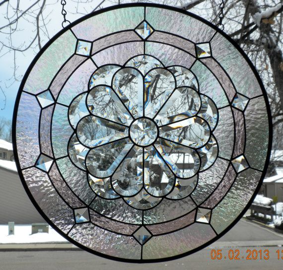 Round Stained Glass Window Panel Iridescent by AmberglassStudio