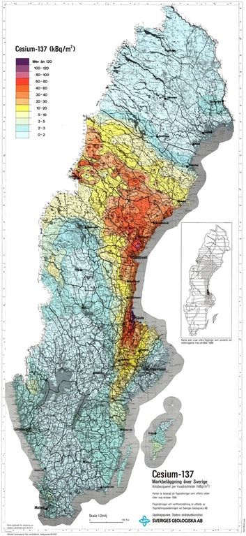Fallout of Cesium-137 in Sweden after the Chernobyl Disaster