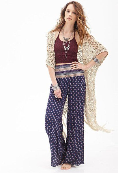 BEAUTIFUL PRINTED PALAZZO WITH A MAROON TOP AND A LACED DUSTER WILL COMPLETE YOUR BOHO LOOK FOR THE EVENING...TRY SOME AWESOME ACCESSORIES AND WALK CAREFREE.. #BOHO #ACCESSORIZED #READY FOR EVENING PARTY