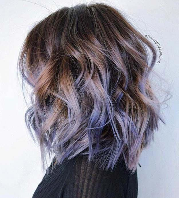 Balayage Ideas For Short Hair Wavy Brown Bob With Purple Or Blue Highlights Tips Brunette Hair Color Hair Color Ideas For Brunettes Short Purple Ombre Hair