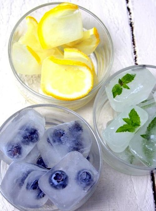 Blueberry ice cubes, lemon ice cubes, minted ice cubes to decorate drinks