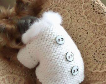 Hartelijk dank voor uw bezoek aan mijn winkel!  100% handgemaakt met liefde voor uw huisdier. !!!  Hand gebreide kleding voor honden, hond trui past nek -11 Chest - 16,5 vanaf de basis van de nek naar de onderkant van de staart in een staande positie -15 hond trui knoopjes op de borst. hond trui vanuit garen wol boucle gekoppeld. Zachte warme trui voor kleine honden.  Als je deze trui, maar u een ander formaat moet, of u een andere kleur wilt gebruiken, laat het me weten, zal ik mijn trui…