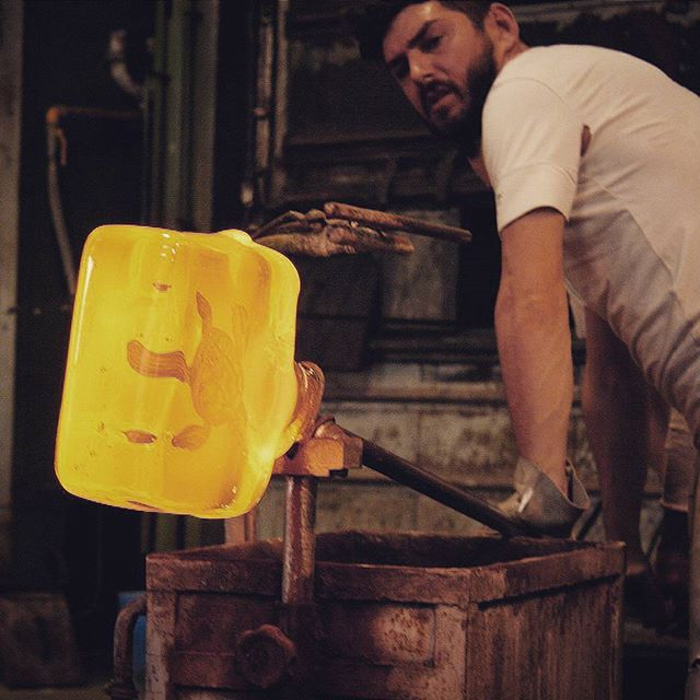 Today's #mancrushmonday working hard in the steamy furnace... #mcm #yourmurano -