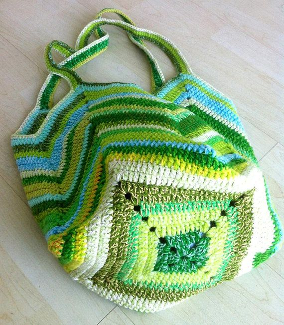 Green crochet market bag Green crochet beach bag Colorful