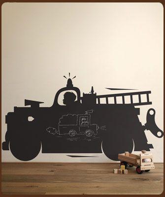 Klein Design Hoorn - Muurstickers - Schoolbord muurstickers - KEK Amsterdam: Brandweerauto schoolbordsticker M