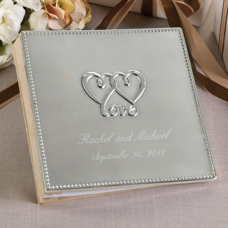silver heart wedding place card holders%0A Two Hearts  One Love Wedding Guest Book    exclusivelyweddings     metallicwedding