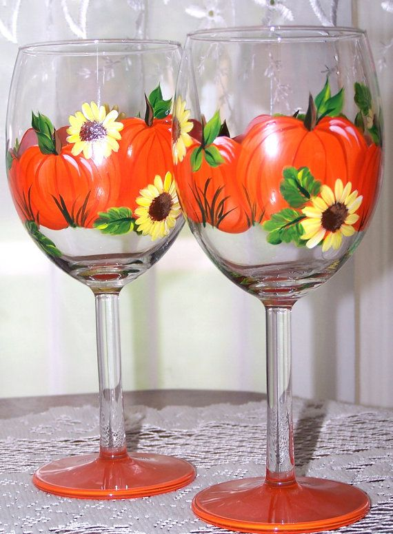 Fall Wine Glass Set Hand Painted in Pumpkin and by BonnysBoutique