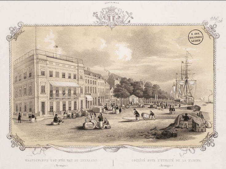 Gezigt op het gebouw der maatschappij tot nut der zeevaart en de Boompjes te Rotterdam door Frederik Lodewijk Huygens (1802-02-03 - 1887-03-18), Amsterdam museum