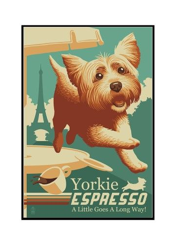 Yorkshire Terrier - Retro Yorkie Espresso Ad - Lantern Press Artwork (12x18 Framed Gallery Wrapped Stretched Canvas), Multi
