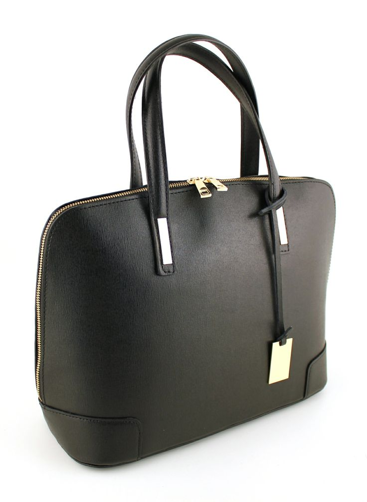 Carrara Nero. Black leather with metal in gold color.