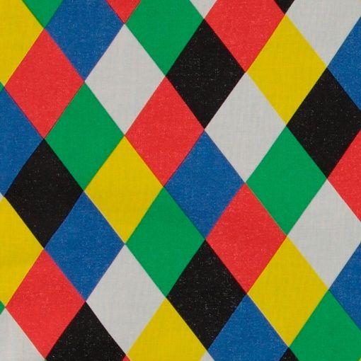 Cotton multi colour Harlequin pattern