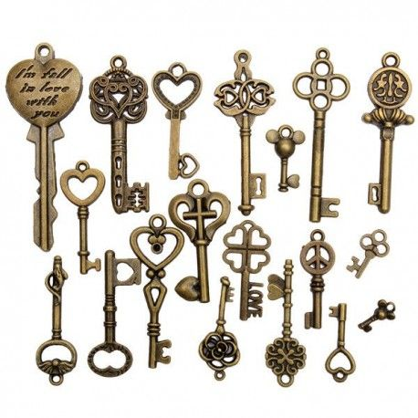 19 chei piese metal retro Vintage - diferite stiluri - accesorii diy