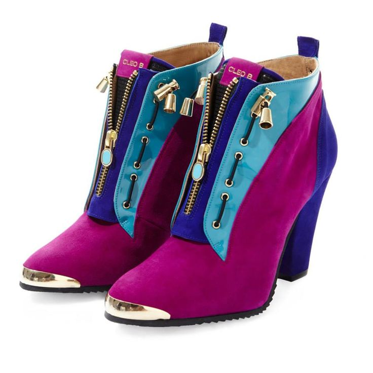 CLEO B 'Ironhide' multi-coloured soft suede and patent sporty-style ankle boot. #pixel #collection #shoe #pink #purple #indigo #turquoise #heels #boots #sporty #fashion #cool #style #designer #london