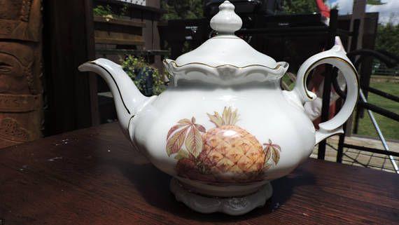 Vintage Winterling Roslau Teapot Fruit Nuts Gold Bavaria