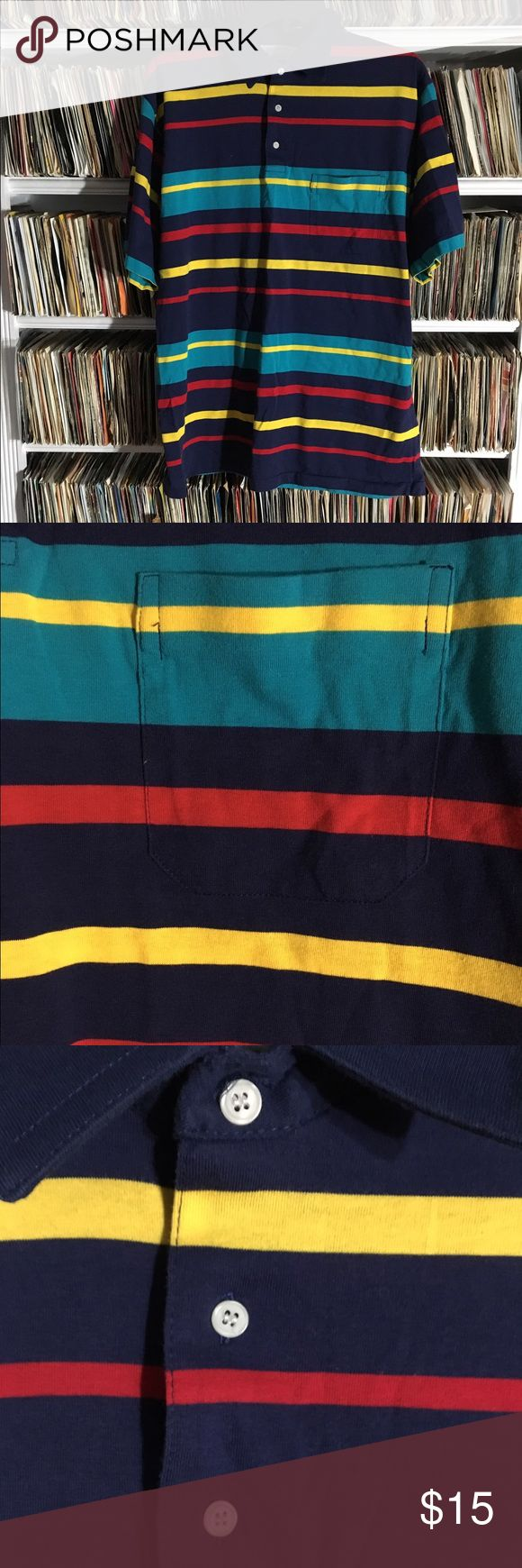 Vintage striped polo shirt with pocket This vintage striped shirt was made by Knightsbridge. It's in good shape. Very bright colors. Vintage Shirts Polos