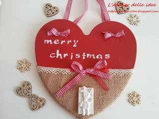 "Targhetta natalizia in polvere di ceramica ""merry christmas"""