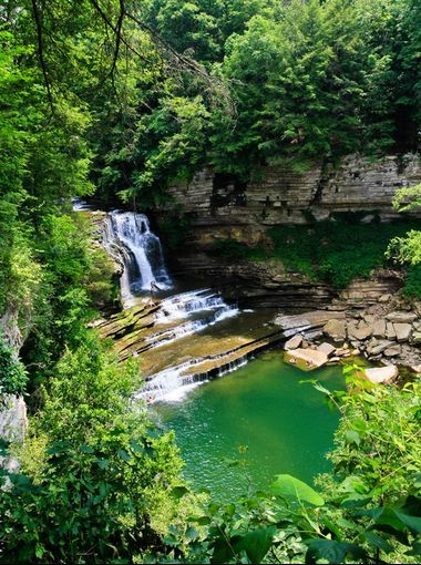 Cummins Falls—Cummins Falls State Park, Tennessee: There's something almost theatrical about the setup here at this 211-acre park about 80 miles east of Nashville. The wide steps at the base of the 75-foot waterfall look exactly like an amphitheater, with all seats facing the headliner: a deep, cold-water swimming hole. #USAToday #Waterfalls #SwimmingHole