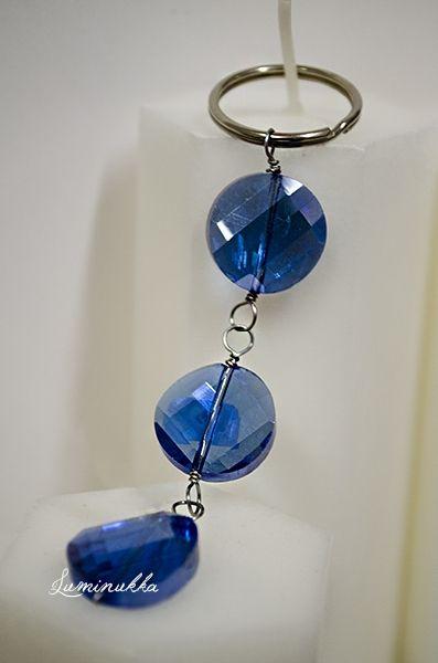 Glitter in keys, avaimenperä Viisteiset kristallikolikot, metallilanka  http://www.kauppa.luminukka.fi/product_info.php?cPath=22_142&products_id=732