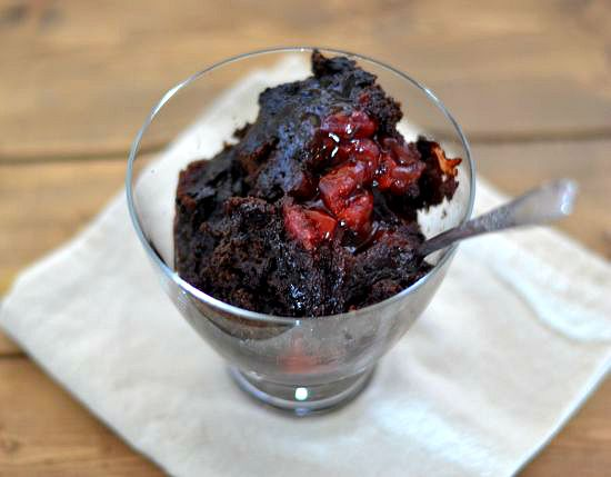 This Crock Pot Chocolate Cherry Cake recipe is decadent.