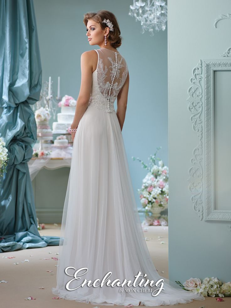 Enchanting by Mon Cheri - 116124 - Sleeveless tulle A-line gown, hand-beaded illusion jewel neckline over sweetheart bodice, beaded illusion back with covered buttons, chapel length train.  Sizes: 0 – 20  Colors: Ivory, White