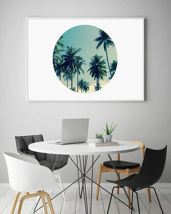 Palm Print Palm Tree Print Circle Palm Trees Coastal Print