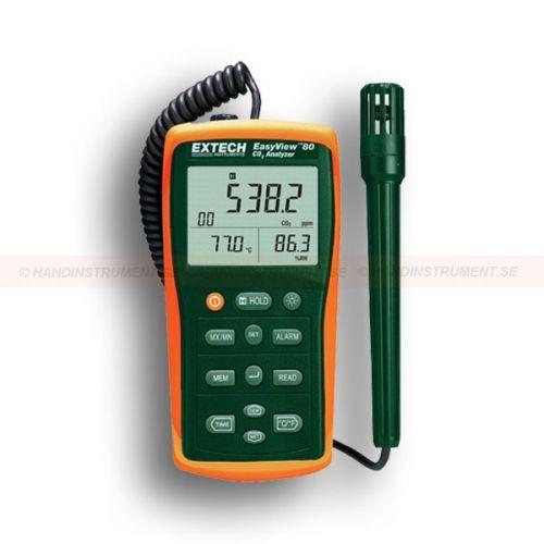 http://termometer.dk/gasanalysator-testere-r12832/malere-til-indoor-air-quality-53-EA80-r12838  Målere til Indoor Air Quality  styringer til kuldioxid (CO 2) koncentrationer  Vedligeholdelsesfri dobbelt bølgelængde NDIR (non-dispersiv infrarød) CO < sub> 2 sensor  CO 2 Måleområde: 0-6000 ppm  Temperaturområde: -4 til 140 Garanti: 2 År Leveringstid: 4-5 Uger