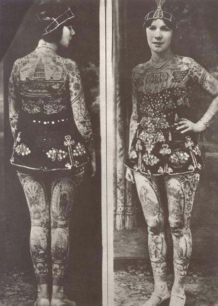Lady Viola (originally born as Ethel Martin) Covington, Kentucky, 1898; tattooed by Frank Graf