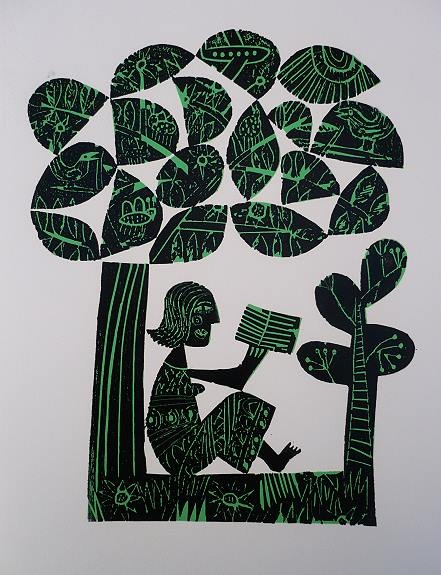 Title  Under a Tree    Artist  Hilke MacIntyre    Medium  Woodcut    Size  21 x 27 cm