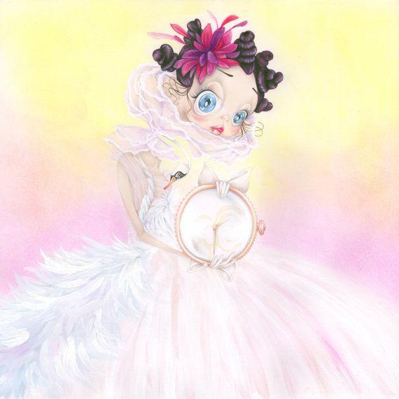princesse valentino pop surrealisme illustration mode cygne pastel impression d'art
