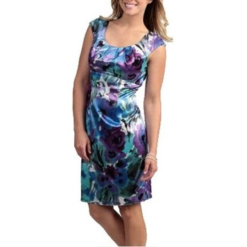 Watercolour Orchid Satin Cocktail Dress