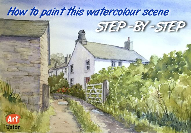 How to paint a watercolour cottage scene with just 6 colours and 3 brushes. Detailed step-by-step guide with illustrations.