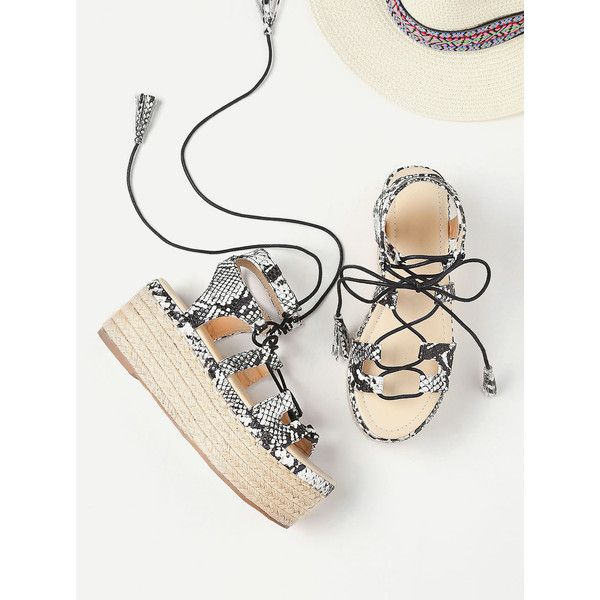 Snake Print Lace Up Espadrille Flatform Sandals ($37) ❤ liked on Polyvore featuring shoes, sandals, black and white, espadrille sandals, high heels sandals, strappy platform sandals, flatform sandals and lace up espadrille sandals