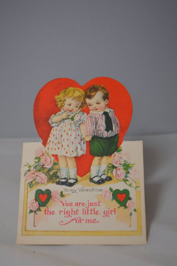 Charming Die Cut Stand Up Vintage Valentines Day by TheOldBarnDoor