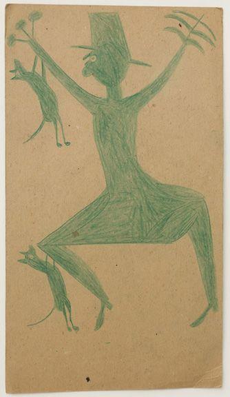 illustration US : Bill Traylor, 1942, dessin, chat escaladant un homme ou un épouvantail, 1940s, vert pâle, art brut