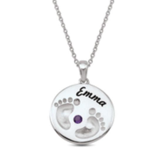 #ZALES - #Zales Mother's Birthstone with Footprints Round Pendant (1 Stone and Name) at Zales - AdoreWe.com