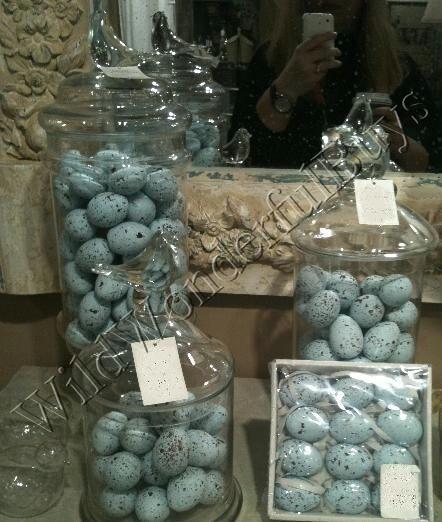 S/12 Speckled Robins Blue Ceramic Egg VASE FILLERS Easter