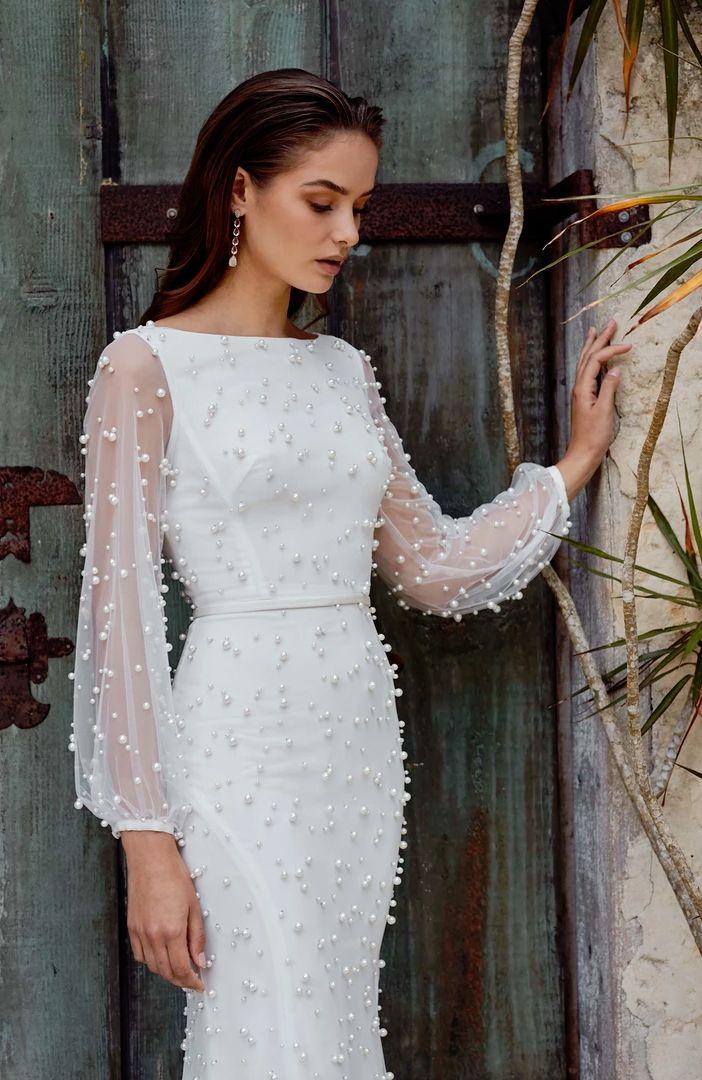 e949e74935df Leah Da Gloria wedding dress with pearls Wedding Dress With Pearls, Pearl  Wedding Dresses,