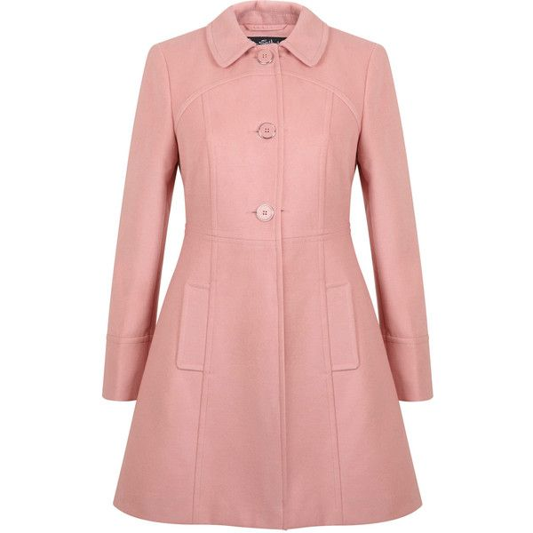 Miss Selfridge Single Breasted Button Coat featuring polyvore, fashion, clothing, outerwear, coats, jackets, pink, dresses, pink coat, miss selfridge, red coat, button coat and single breasted coat