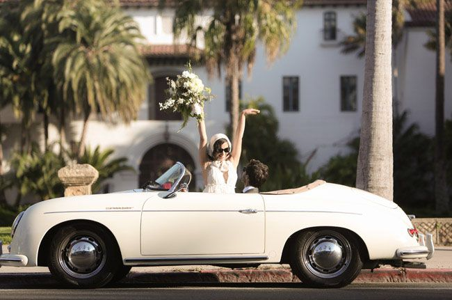 Romantic Santa Monica Elopement bride and groom in vintage car